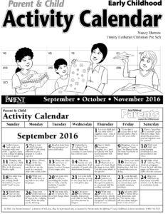 Parent & Child Activity Calendar - Early Childhood - Fall 2016